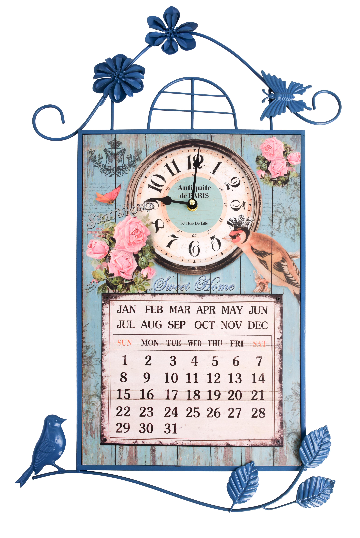 Nástěnné dekorativní hodiny s kalendářem, kovové
