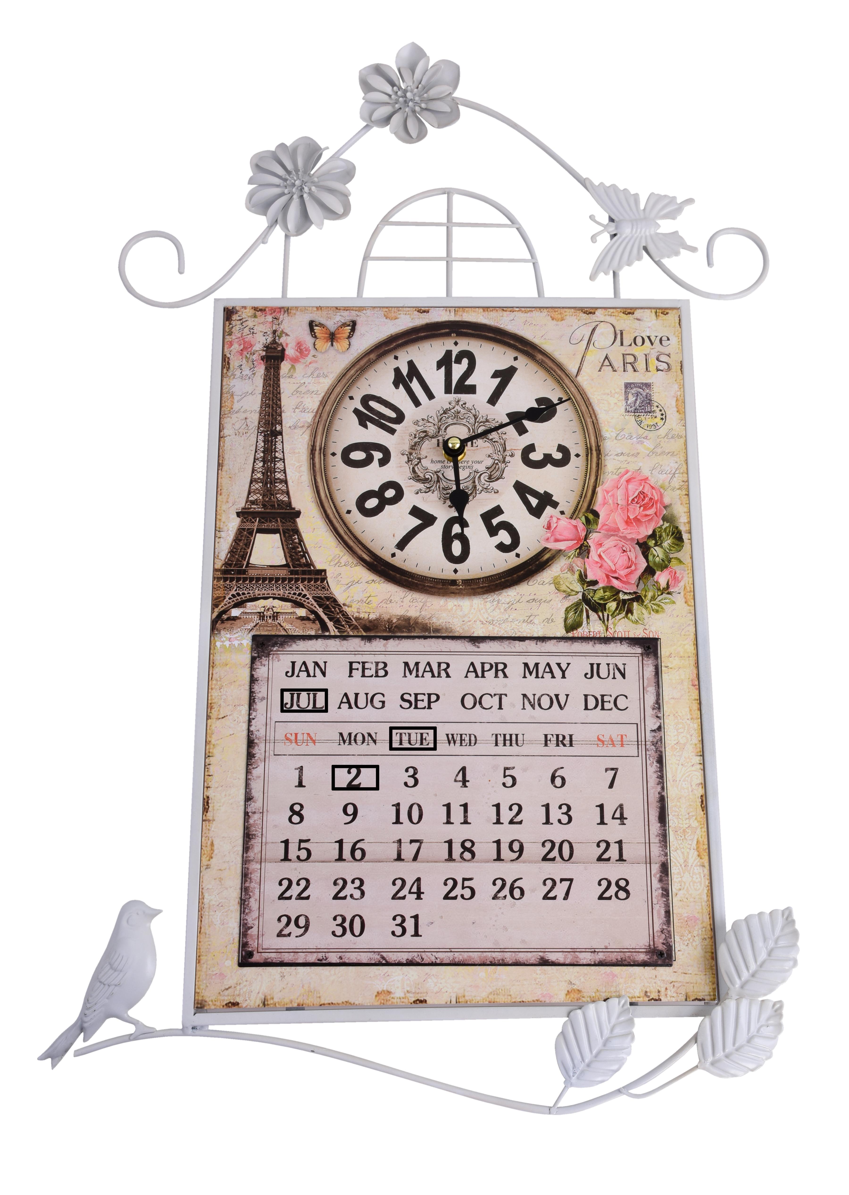Nástěnné dekorativní hodiny s kalendářem, kovové Paris