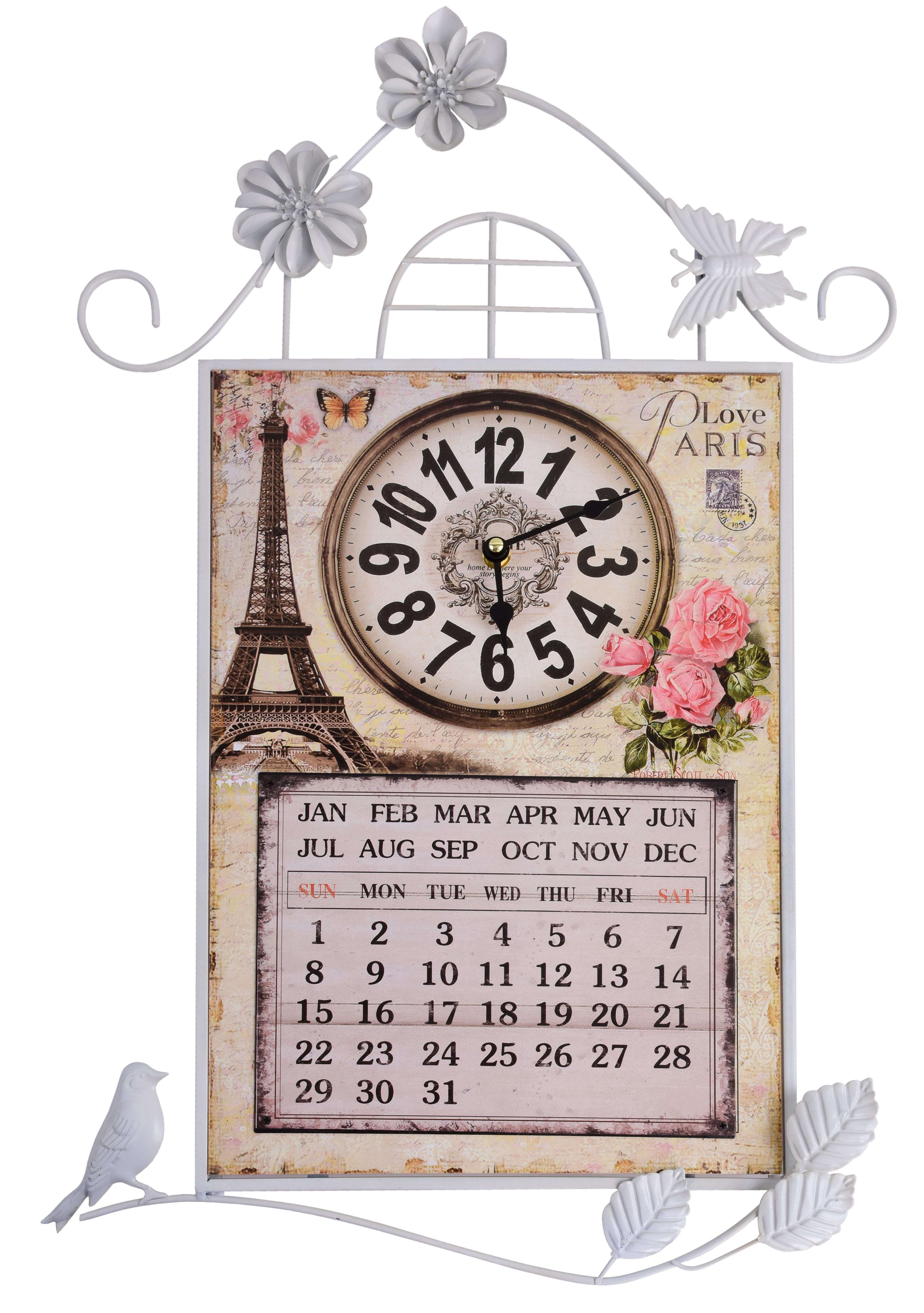 Nástěnné dekorativní hodiny s kalendářem kovové Paris