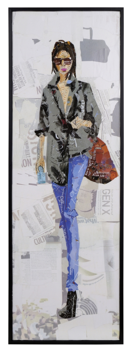 Obraz FASHION WOMAN, v šedé košili
