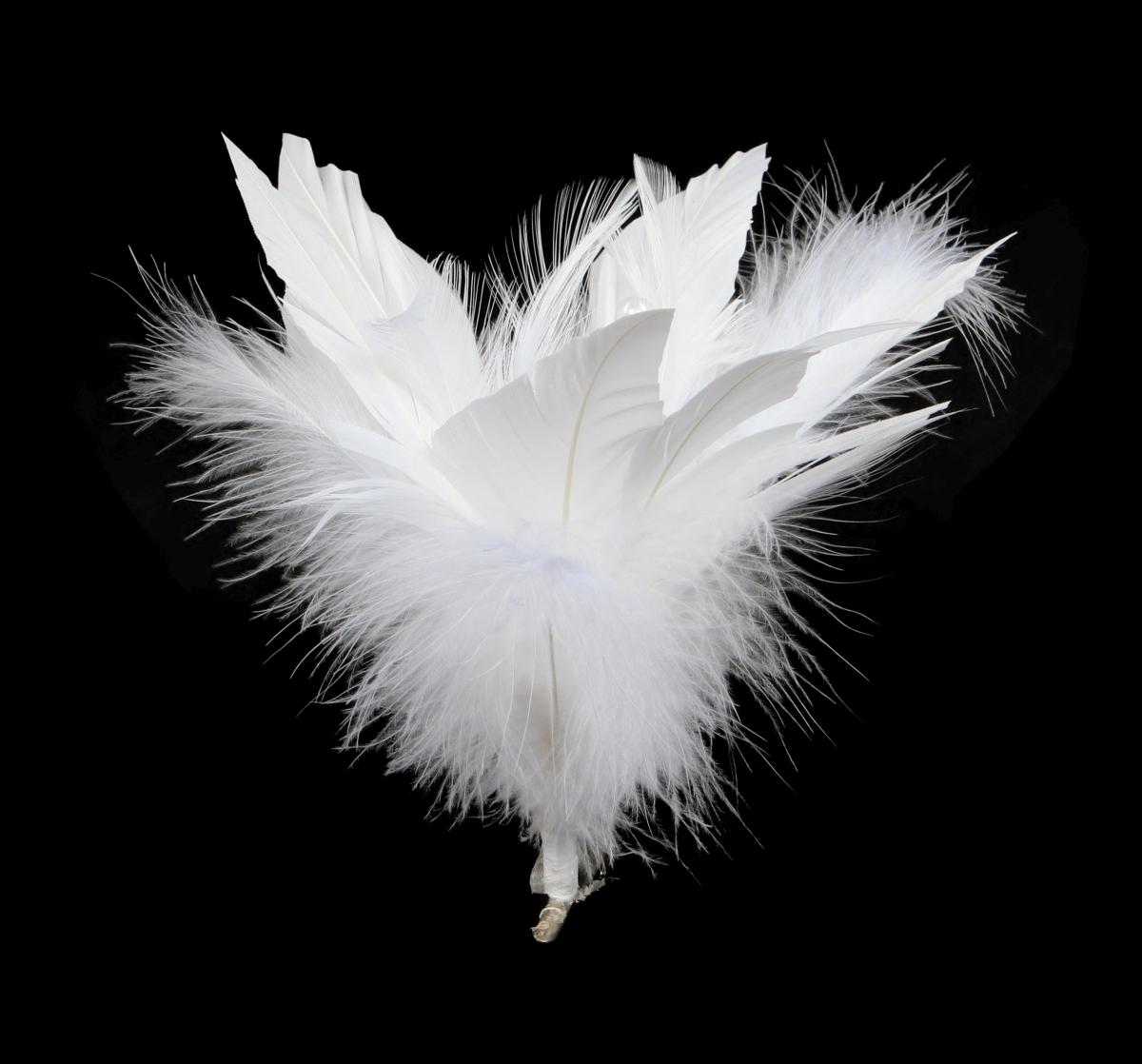 Ozdobná květina z bílých peříček
