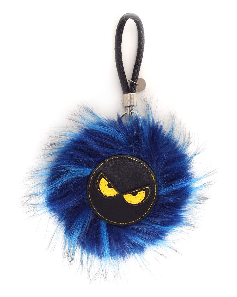 REBELITO® kožešinový přívěšek  královsky modrý melír