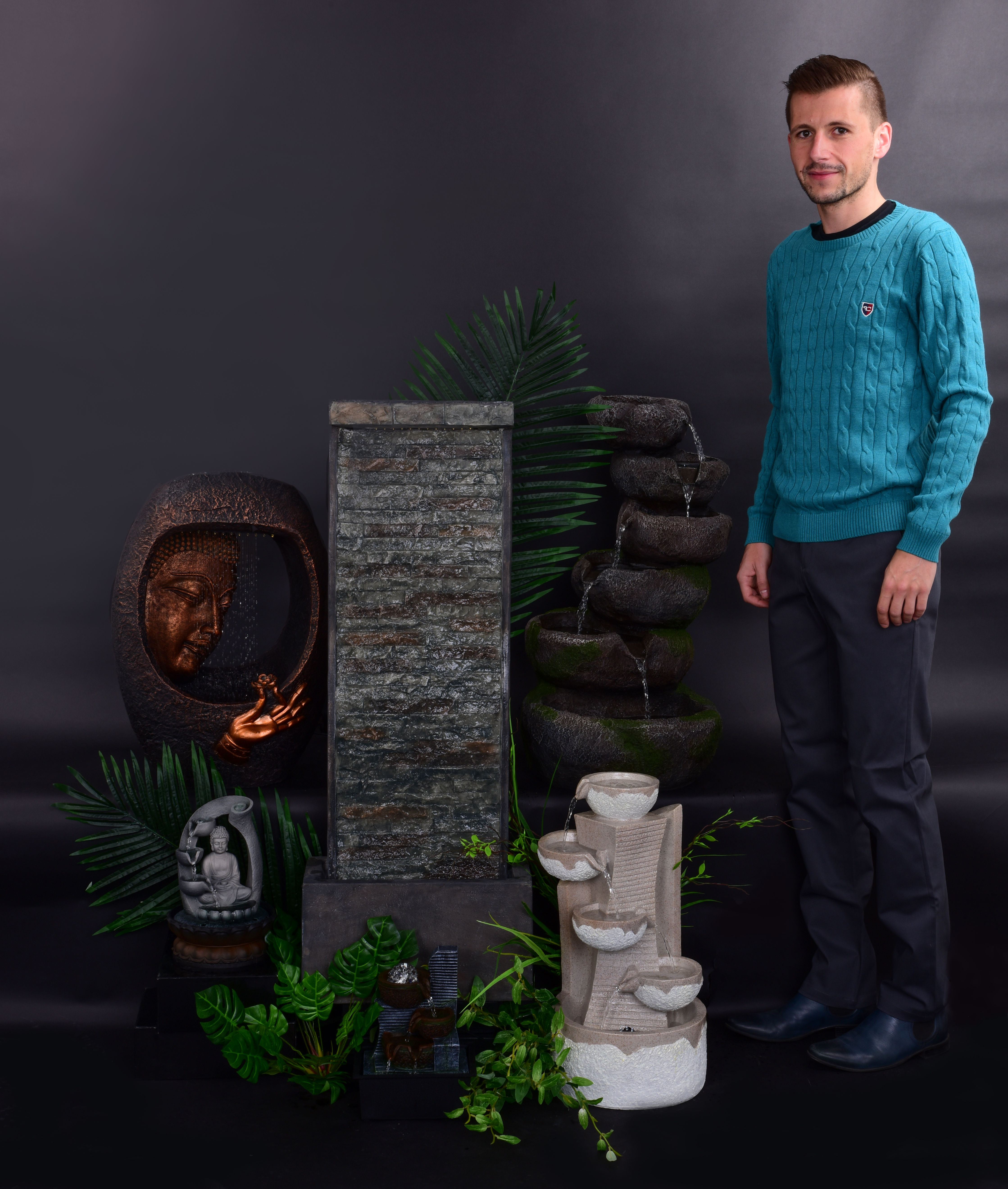 KAMENNÁ STĚNA dekorativní pokojová fontána, s LED osvětlením