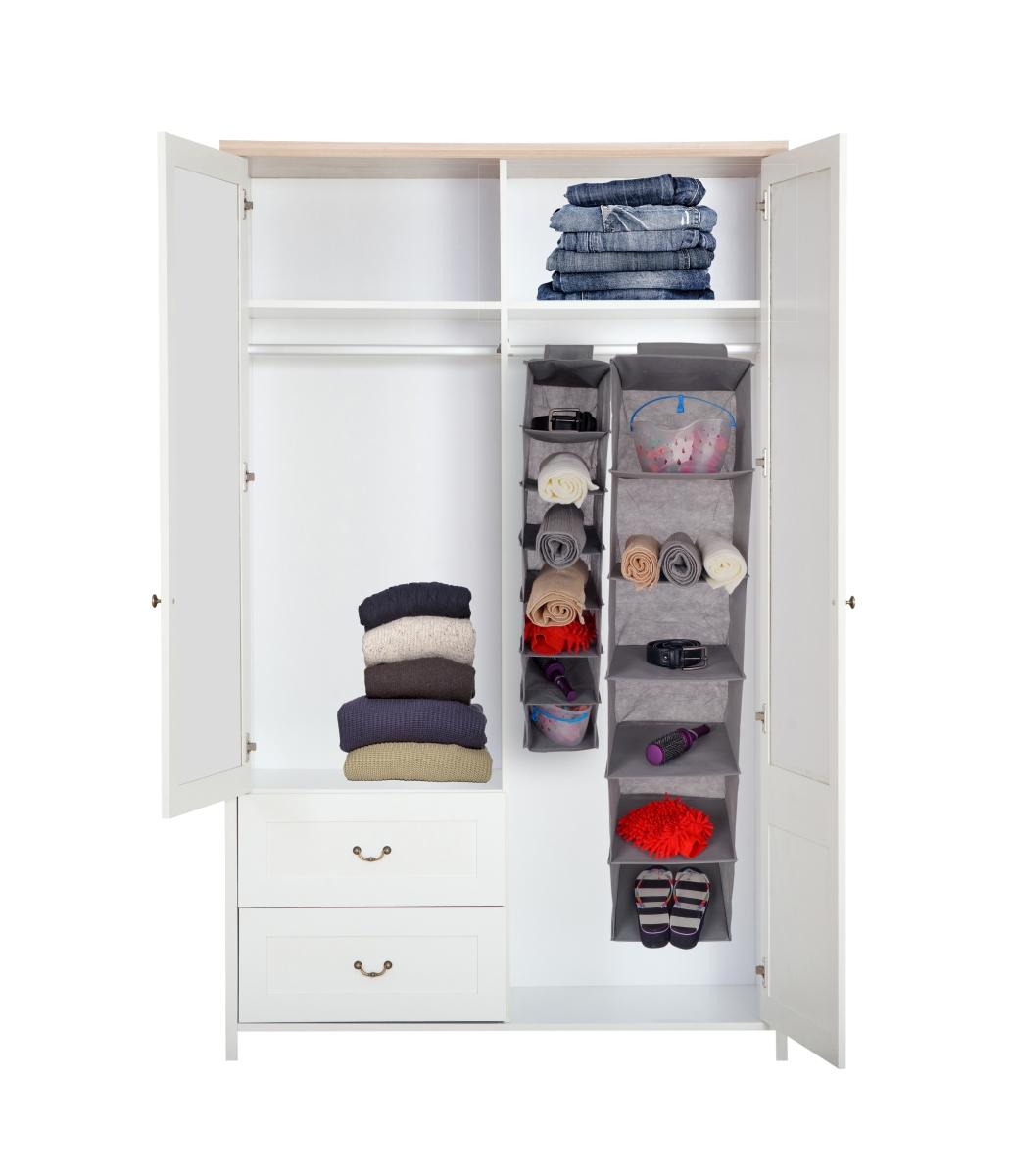 FC18834-Závesný úložný diel / organizér na oblečenie šedý