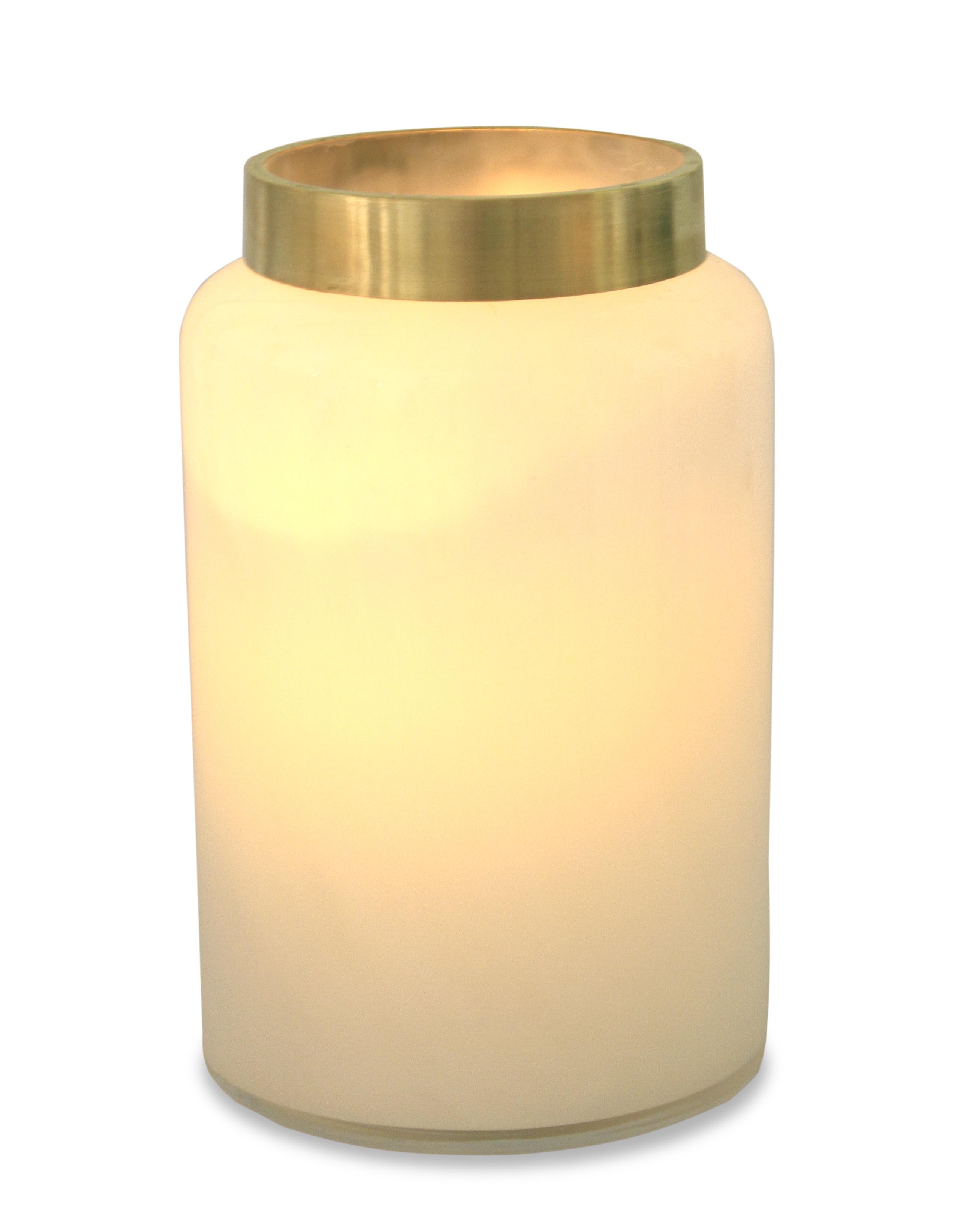 Skleněná dekorace/svícen, v mléčné bílé barvě