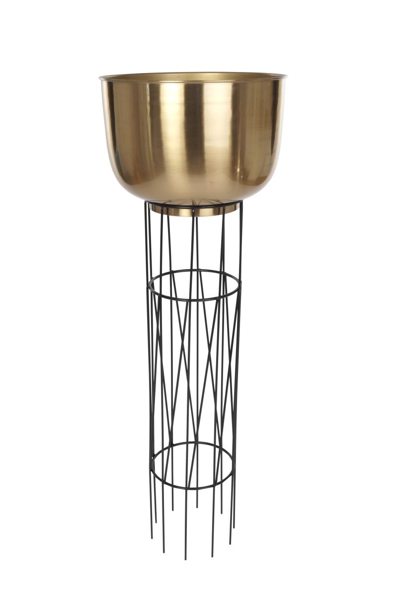 Velký kovový stojan/obal   na květiny v měděné barvě