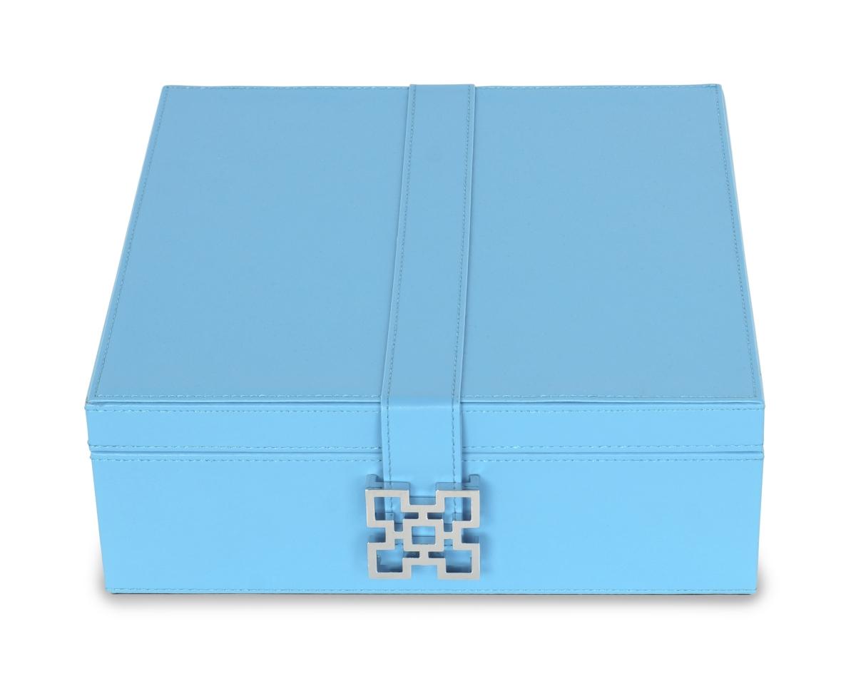 Dřevěná šperkovnice, s jemnou modrou ekokůží a sponou