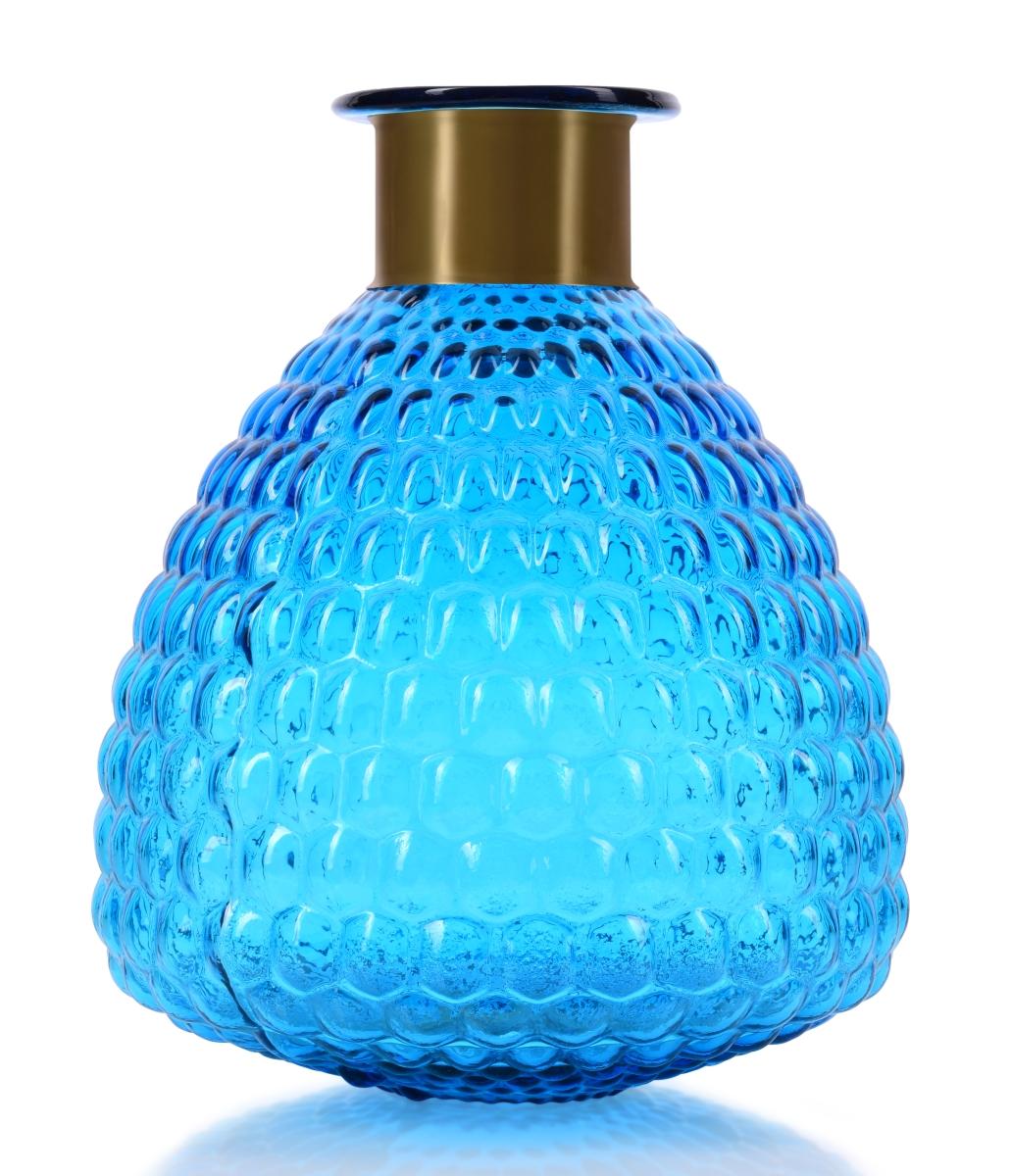 Skleněná váza  s reliéfním povrchem  a efektním kovovým prstencem