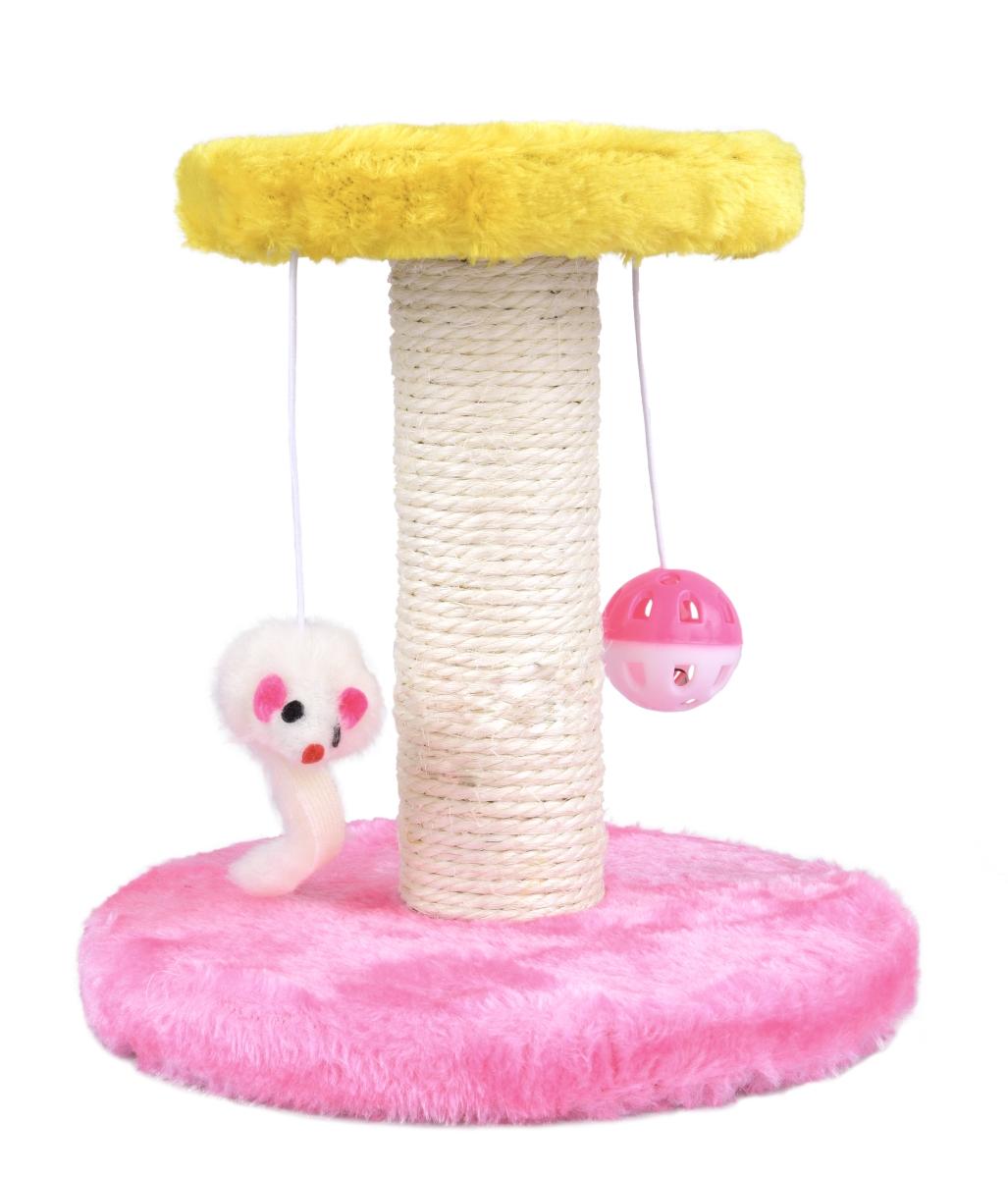 Kočičí škrabadlo s dvěma hračkami