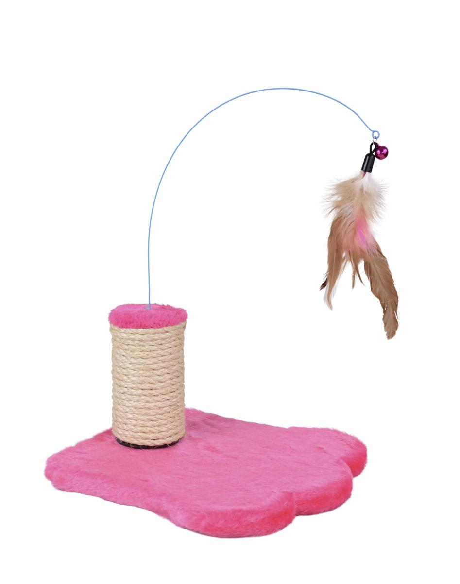Kočičí škrabadlo s ptačími pírky