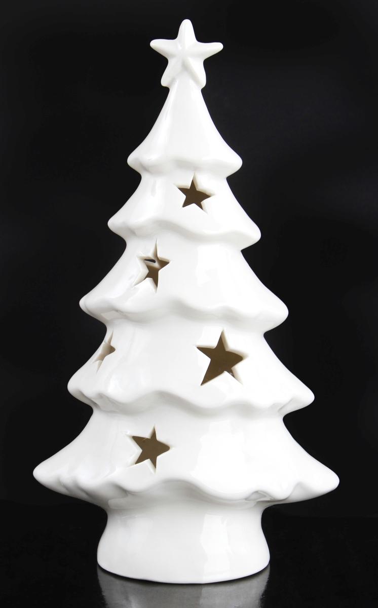 17 cm Svítící stromeček porcelánový,   s LED osvětlením