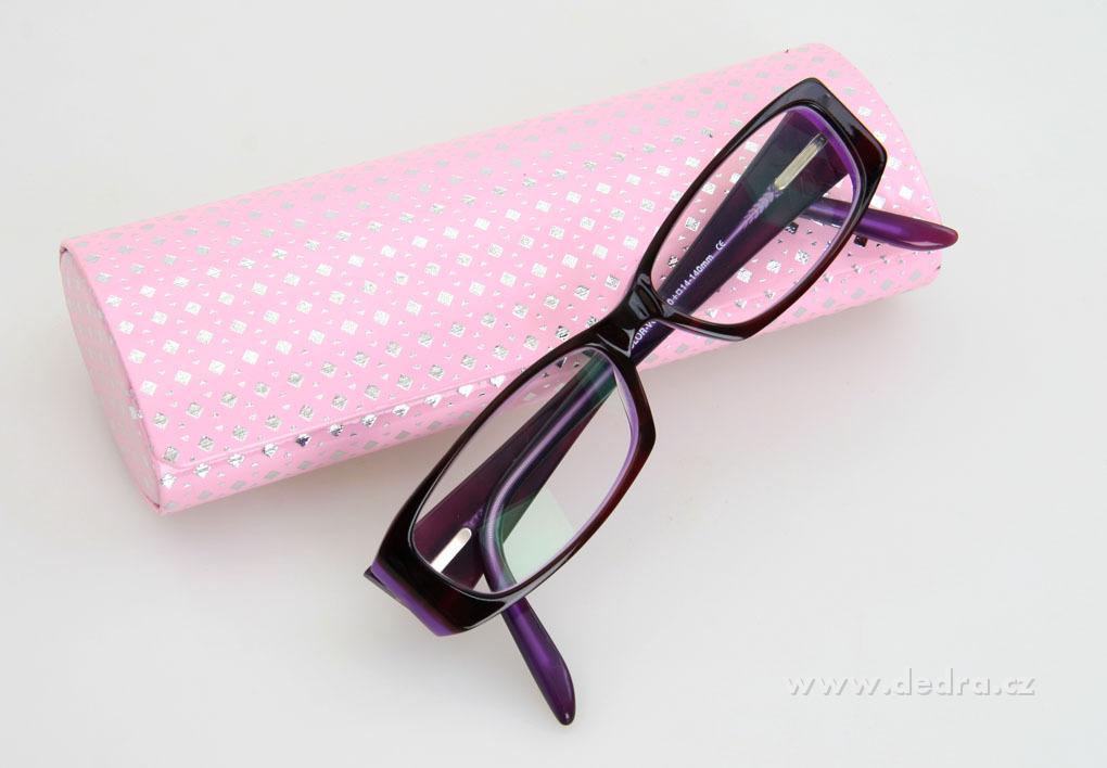 Pevné pouzdro na, brýle, růžovo-stříb.