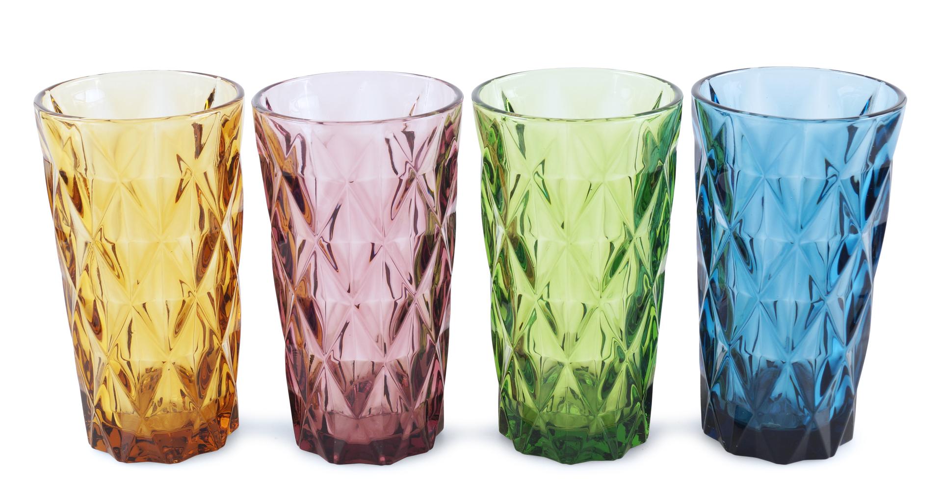 4 ks sada vysokých sklenic, 380 ml barevné