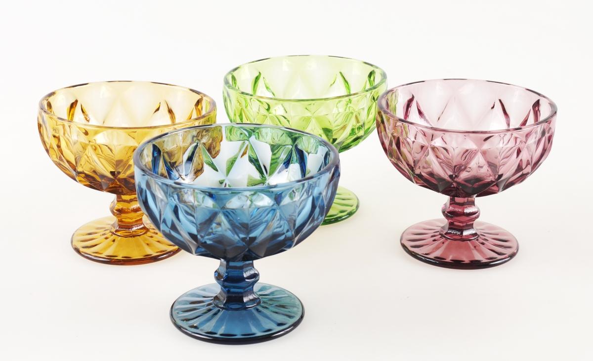 4 ks sada širokých pohárů, v pestrých barvách