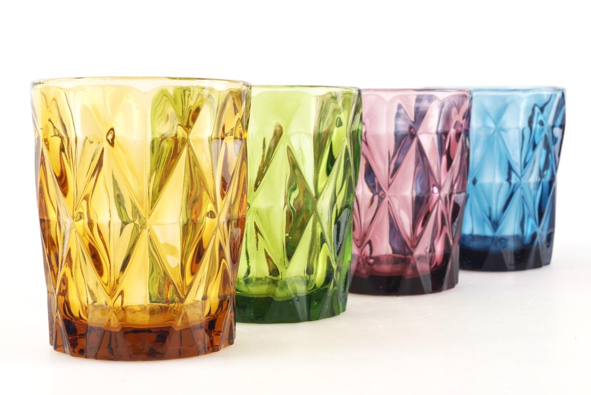 DA17391-4 ks sada pohárov 270 ml v pestrých farbách s reliéf. povrchom