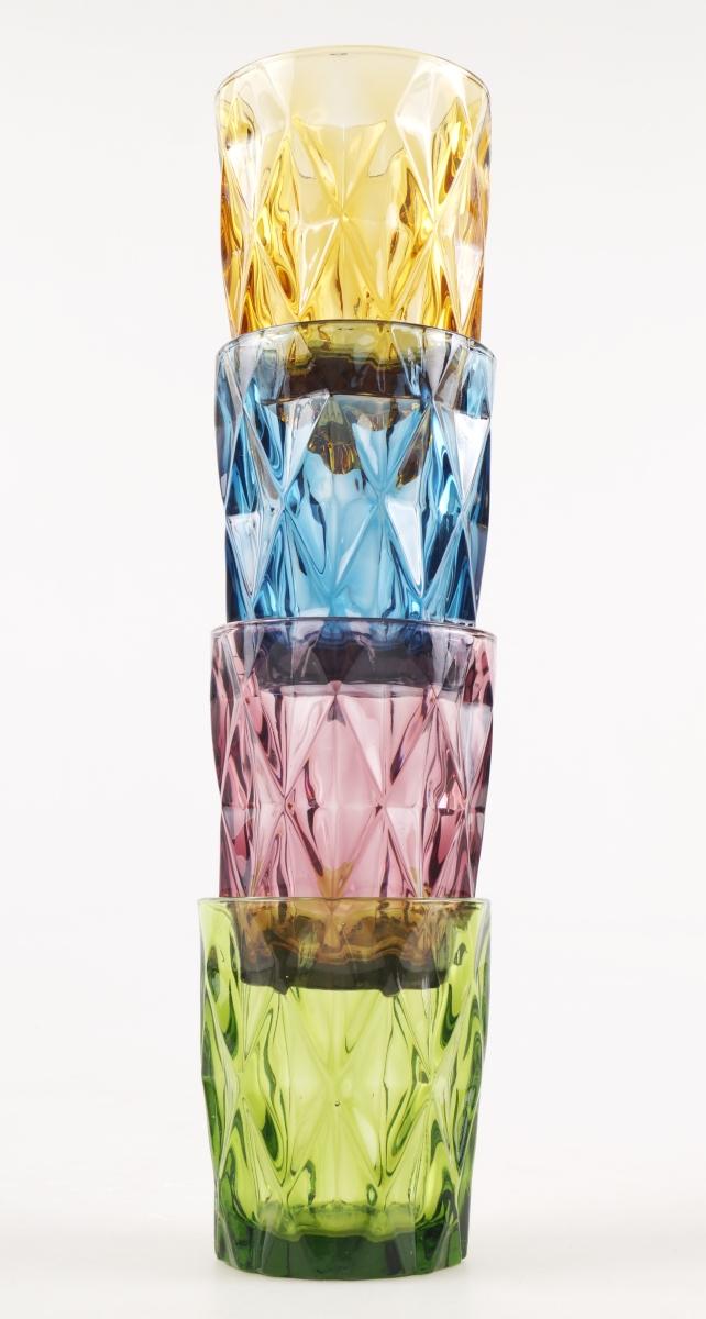 4 ks sada sklenic 270 ml, v pestrých barvách
