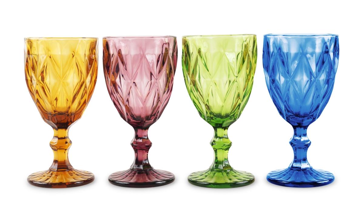 4 ks sada pohárů v pestrých barvách  s reliéf.povrchem