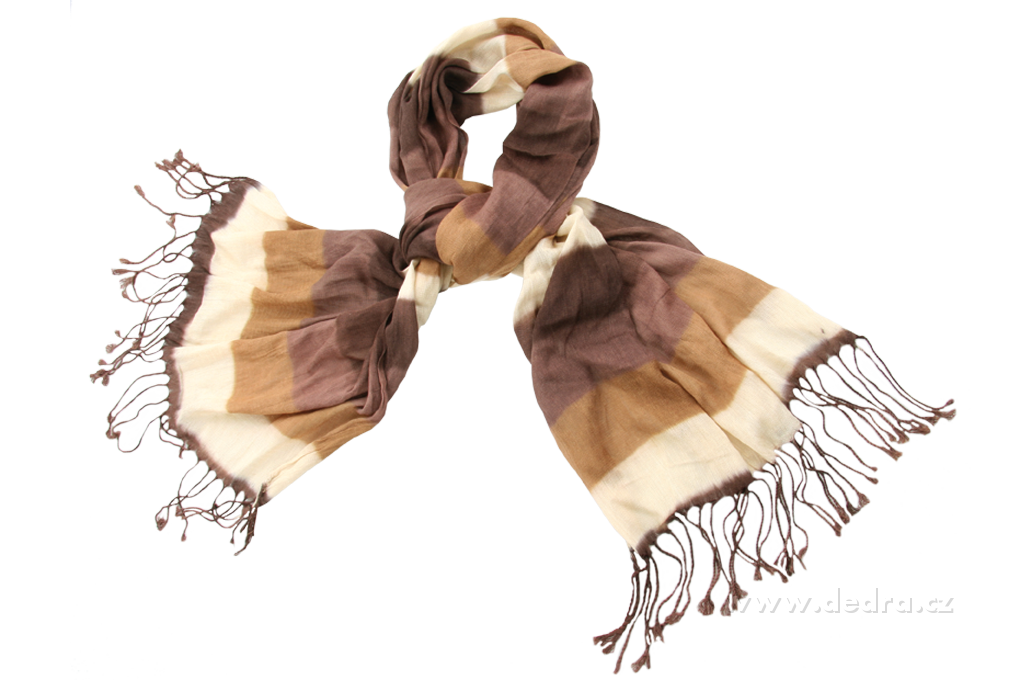 Žíhaný šál kakaovo-hnědý 160 x 65 cm