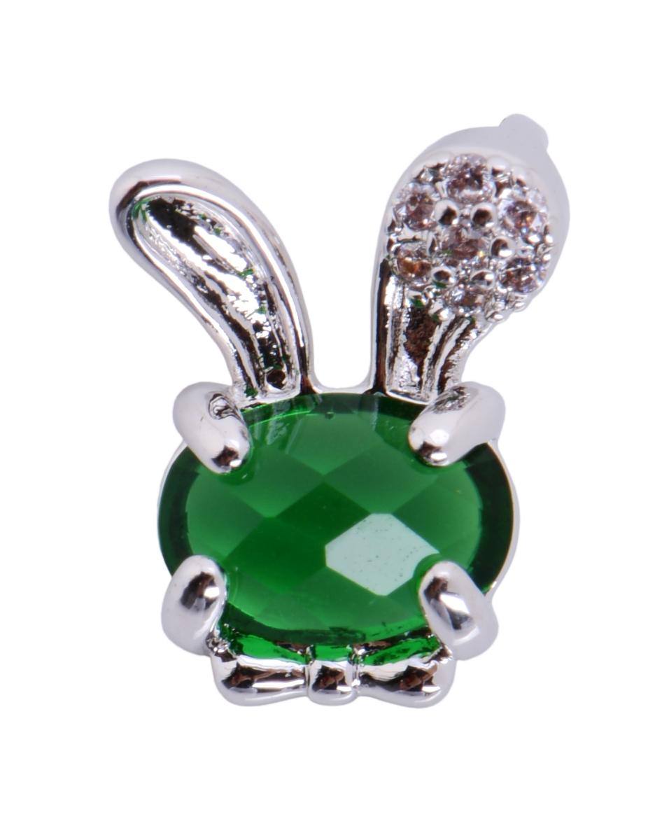 Přívěšek králíček se zirkony, barva smaragdu rhodiováno