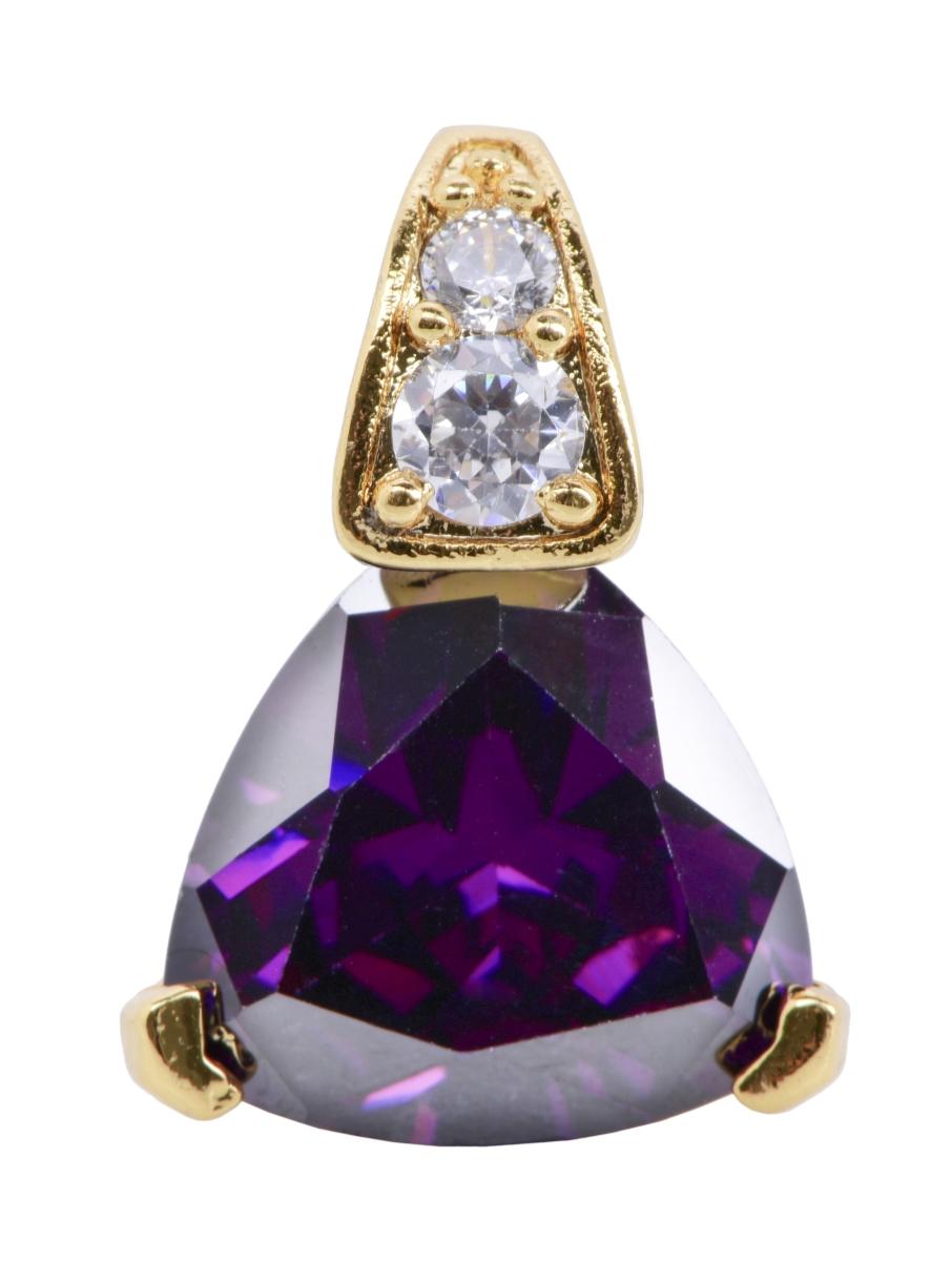 Přívěšek trojúhelník pozlaceno 24 Kt. barva ametystu