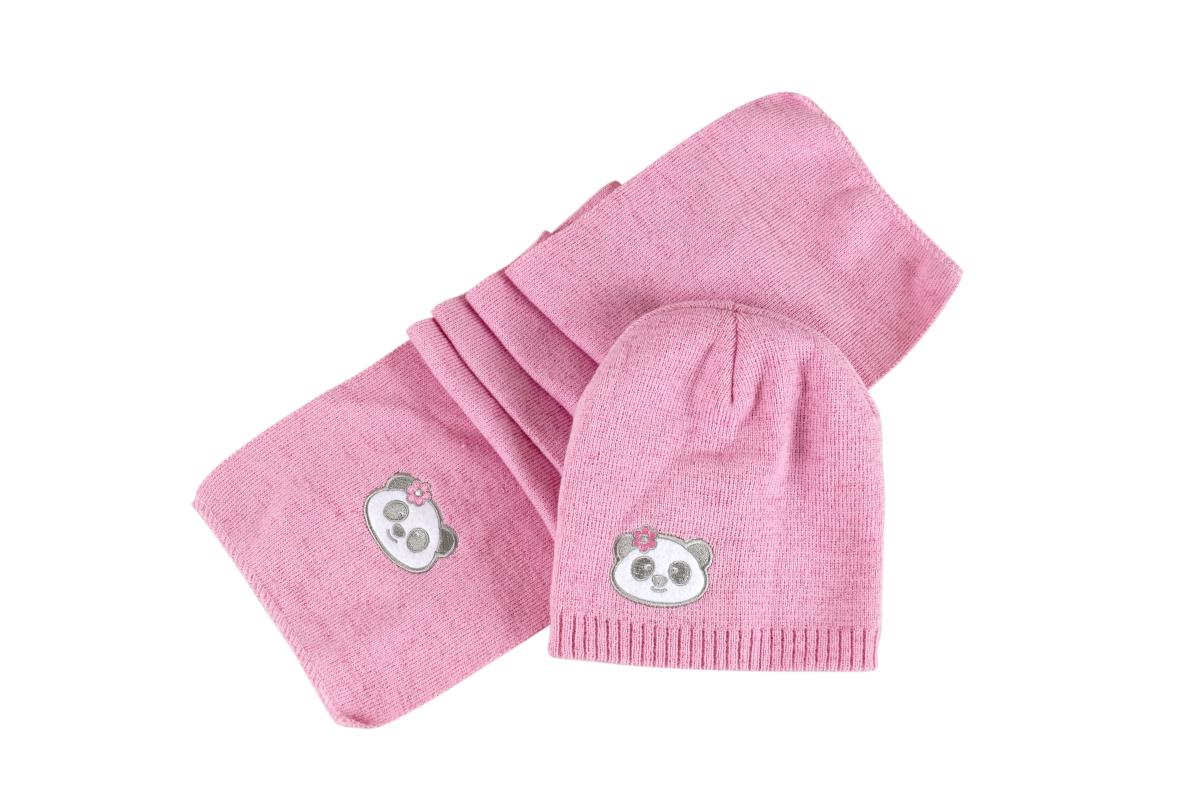 Komplet čepice a šály KIKISTAR v růžové barvě