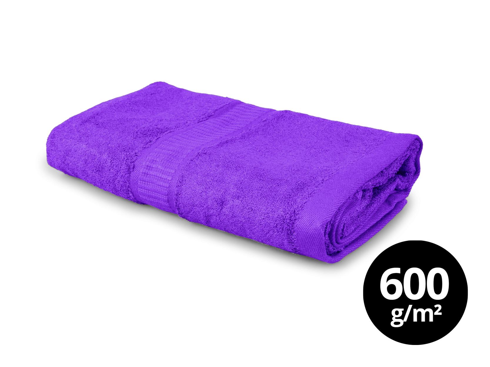 BAMBOO veľký uterák s elegantnou bordúrou - fialový