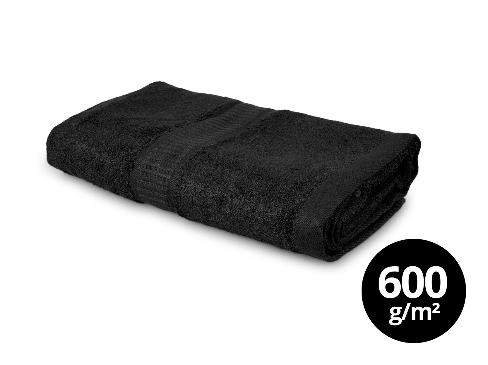 BAMBOO veľký uterák s elegantnou bordúrou - čierny