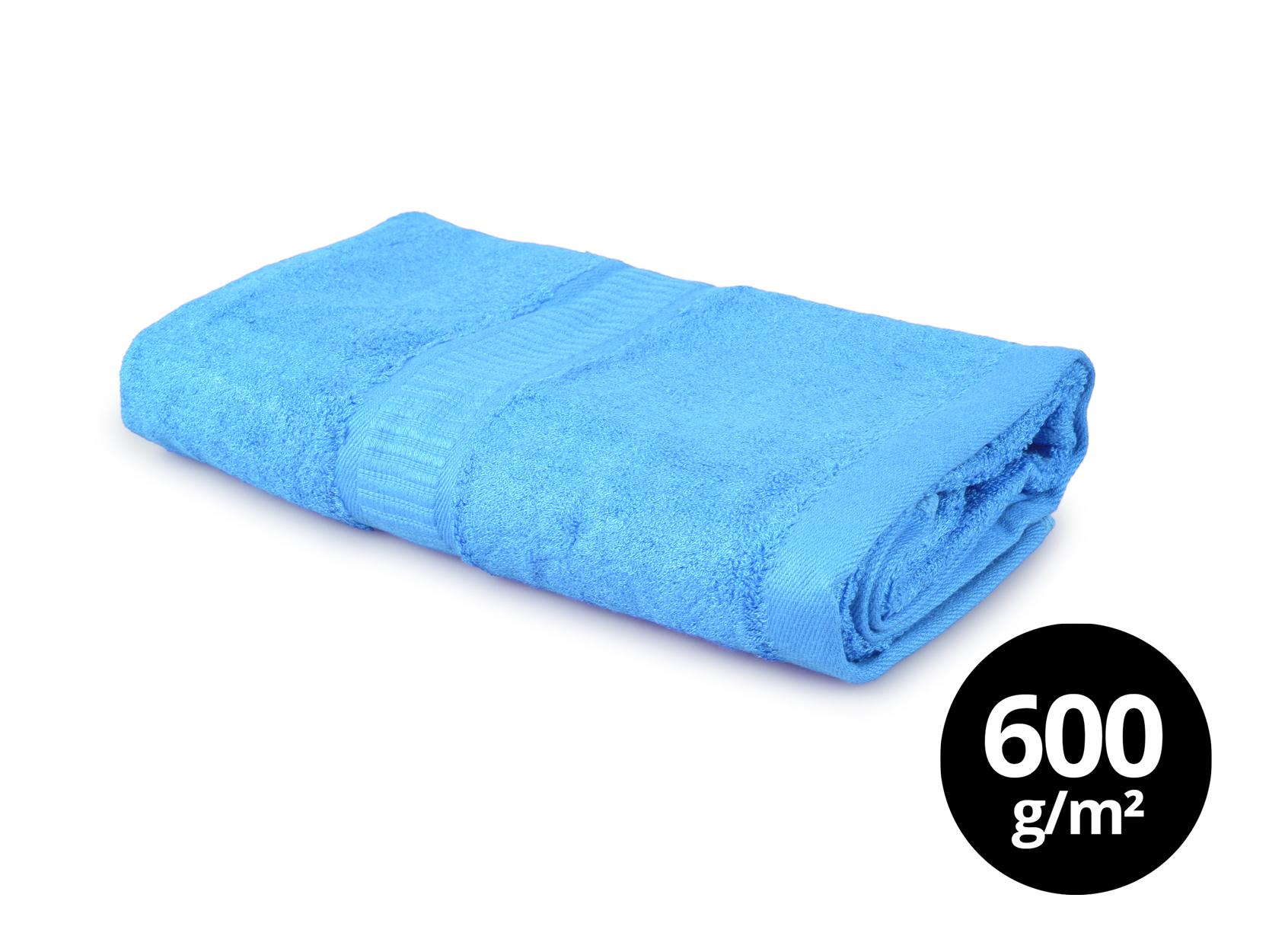 BAMBOO velký ručník  s elegantní bordurou modrý