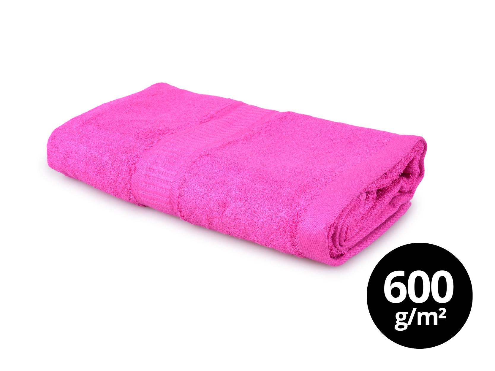 BAMBOO velký ručník  s elegantní bordurou fuchsiový