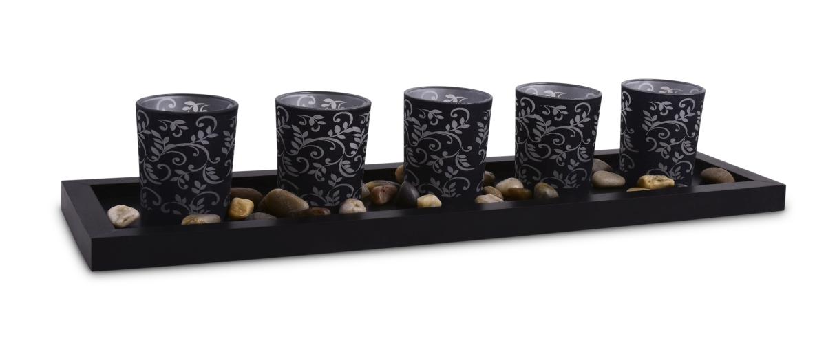 5 ks skleněných svícnů černé s ornamenty 44 cm