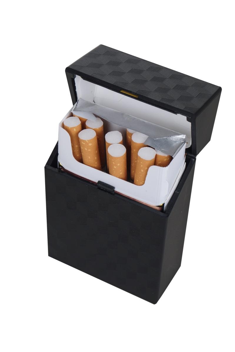 Pouzdro na cigarety, metalicky černé