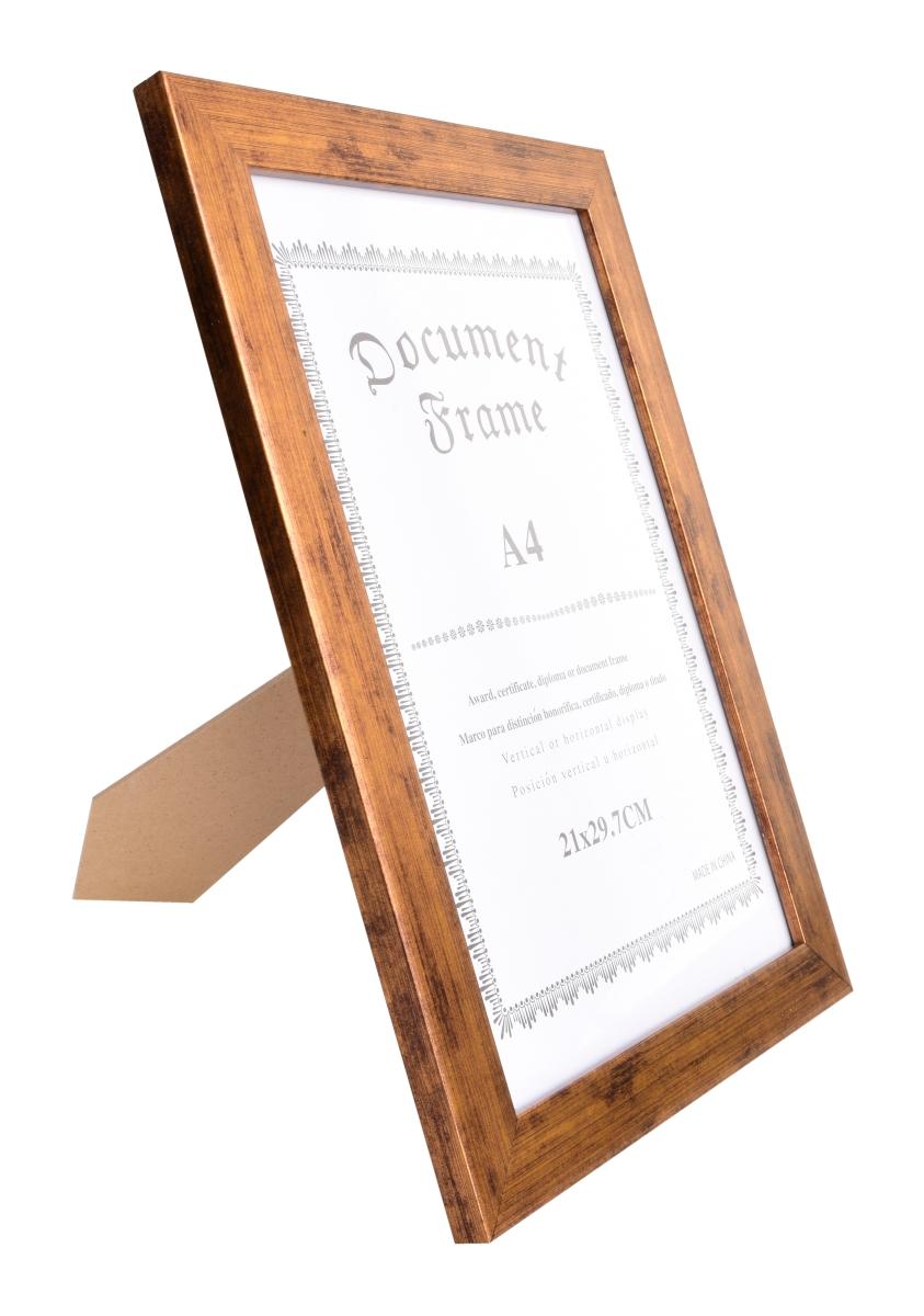 Dřevěný fotorámeček zlatý s patinou na foto 21 x 30 cm