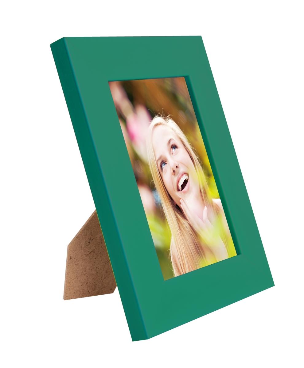 Dřevěný fotorámeček tmavě zelený s patinou na foto 10 x 15 cm