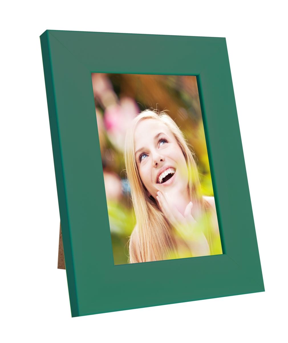 Dřevěný fotorámeček, tmavě zelený s patinou