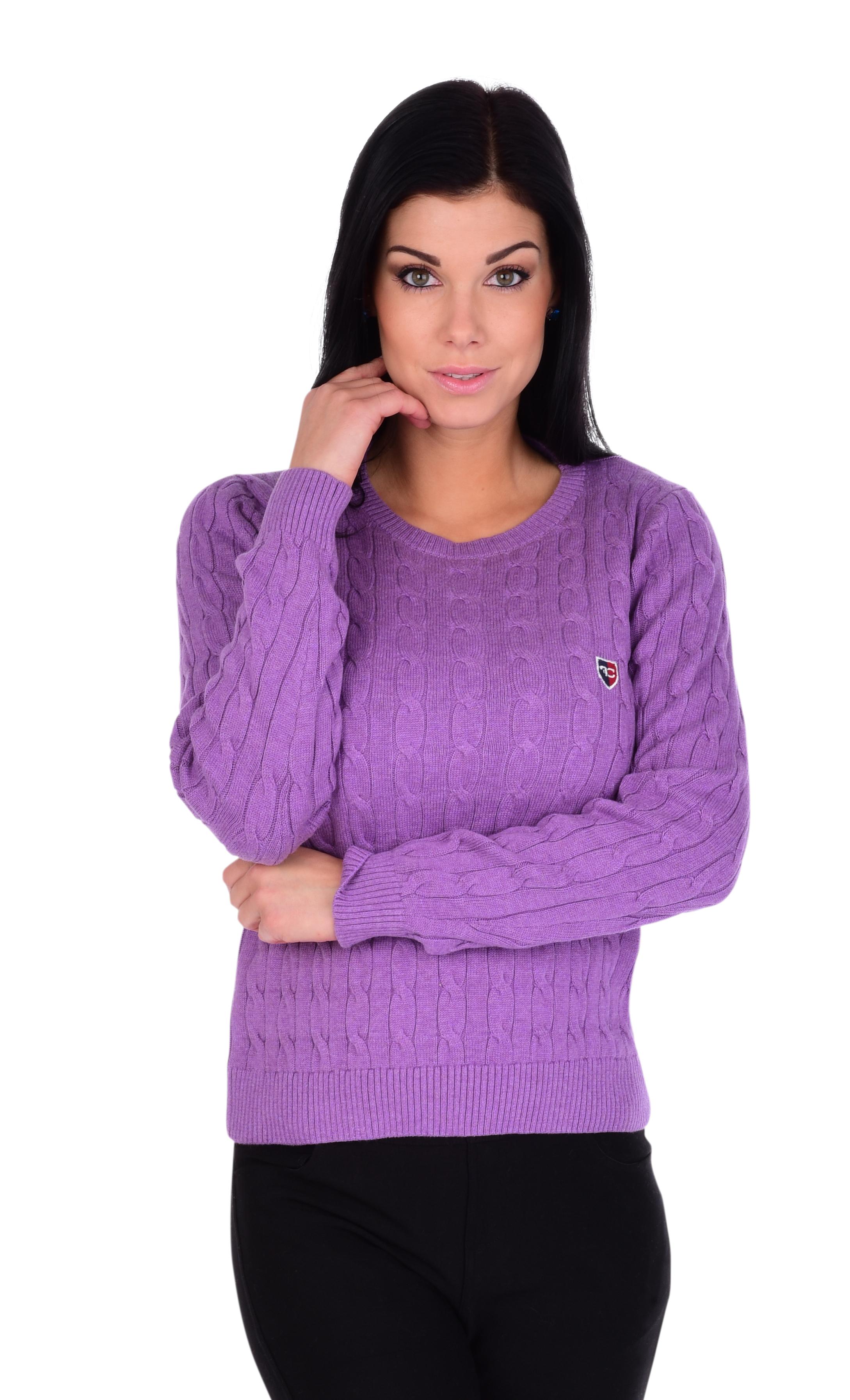 Dámský bavlněný svetr COTTON CHARMANTÉ, lila melange   1(S)