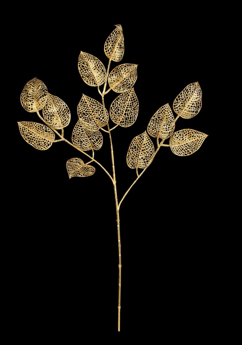 3 dílná ratolest, s listy lípy, zlatá