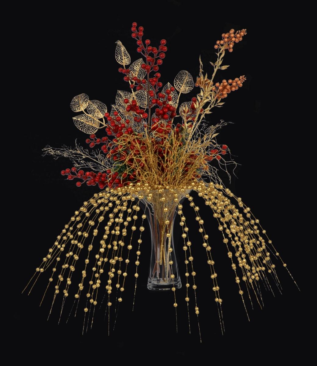 DA985622-3 dielna ratolesť s listami lipy, zlatá dĺžka cca 70 cm