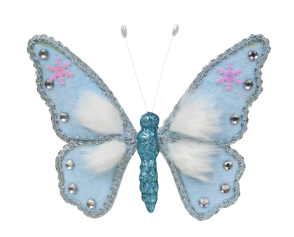 16 cm velký modrý motýl WHITE&BLUE