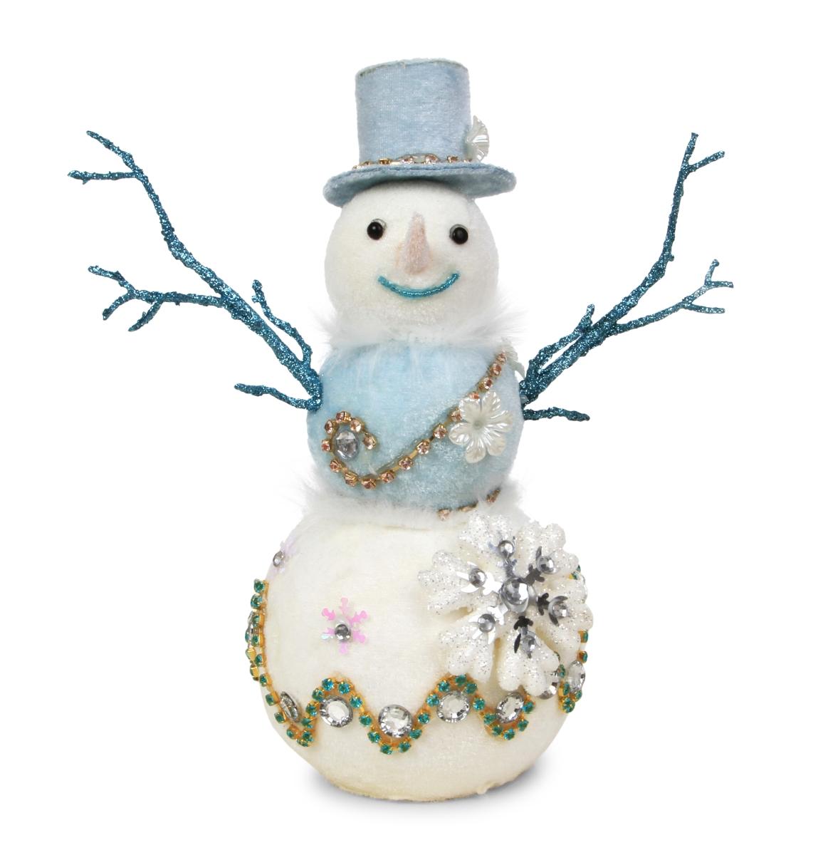 26 cm sněhulák s kloboukem WHITE&BLUE