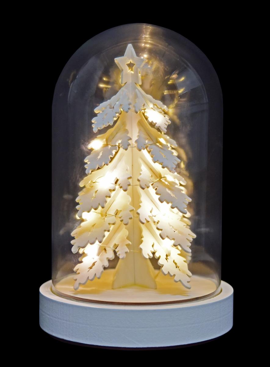 27 cm LED svítící dřevěný stromek