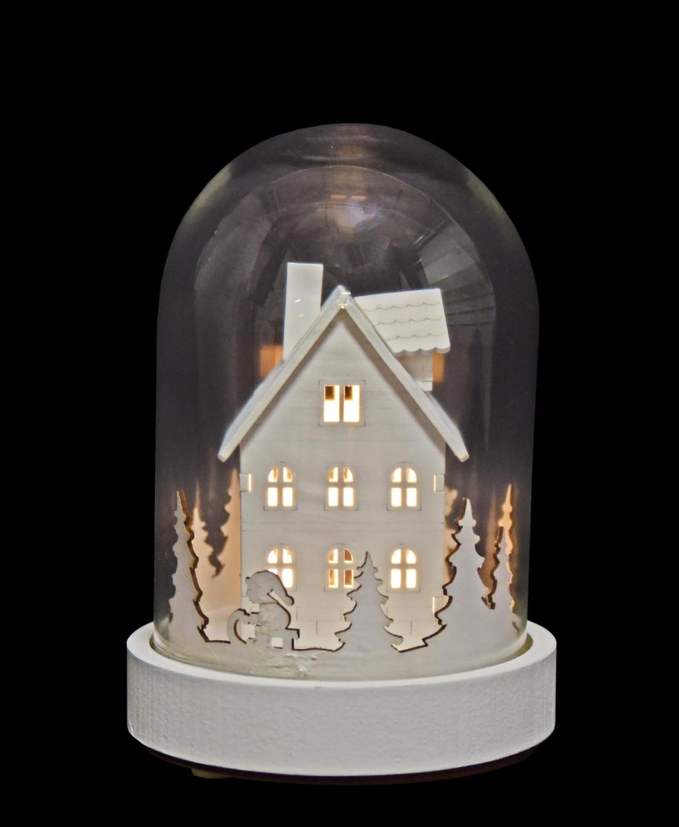 18 cm LED svítící chaloupka dřevěná