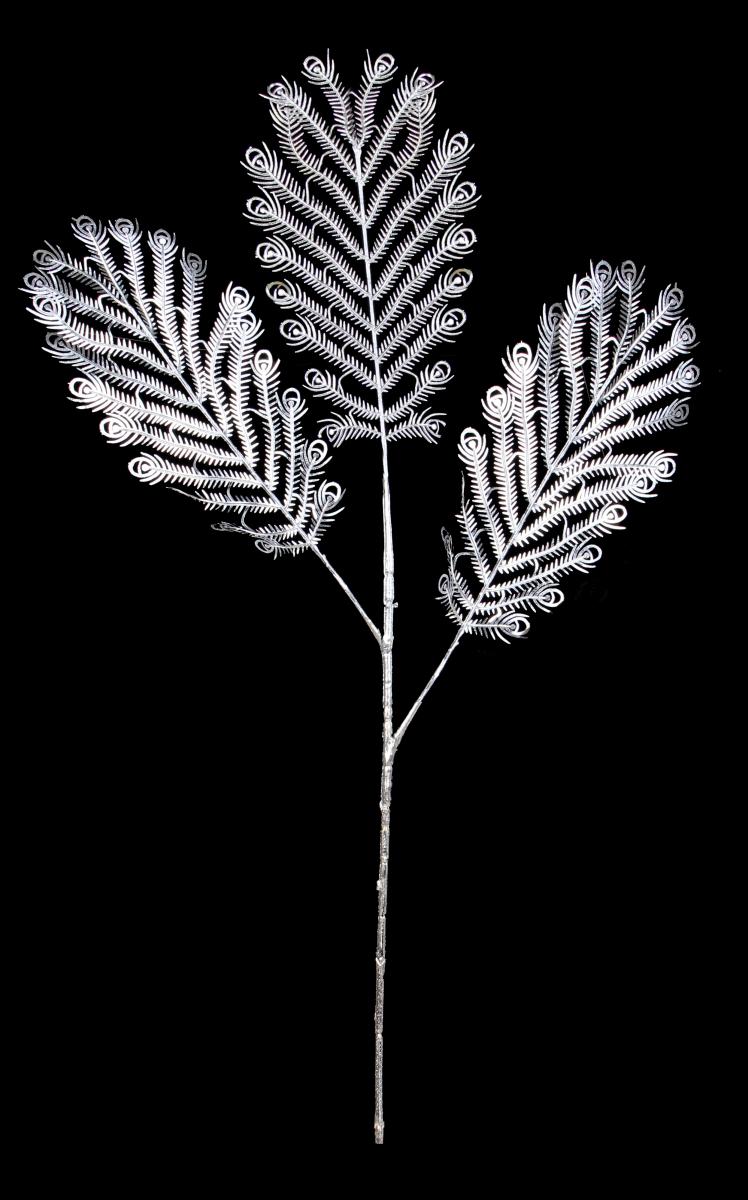Paví peří 3 dílné, stříbrné délka cca 70 cm