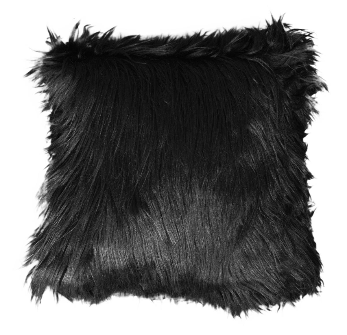 Dekorační potah  na polštář, černý z česané umělé kožešiny