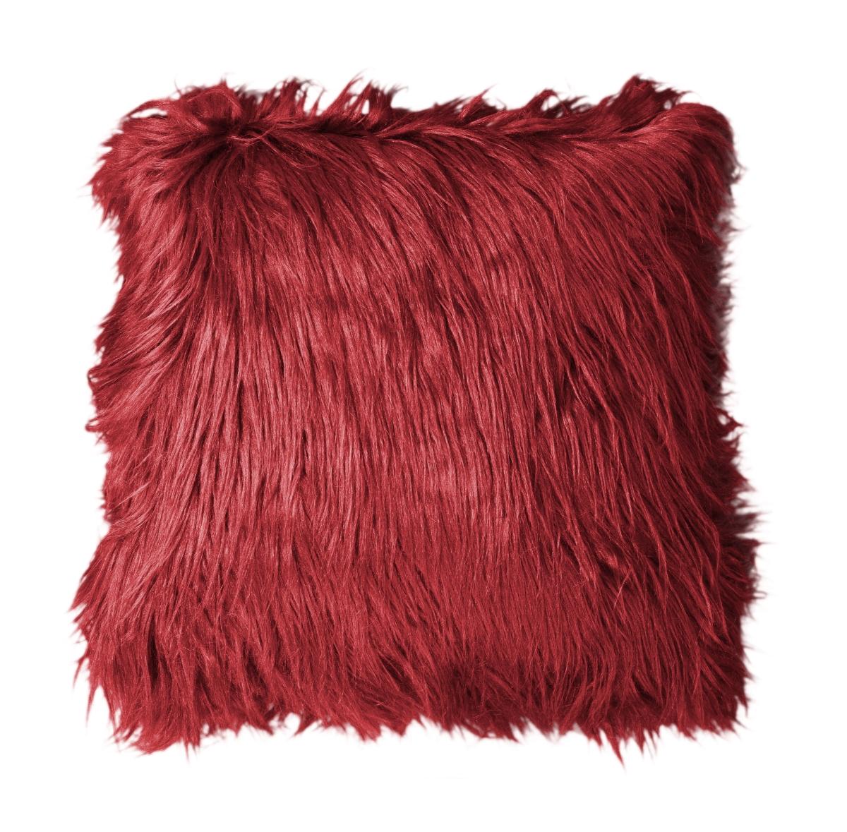 Dekorační potah  na polštář,bordó z česané umělé kožešiny