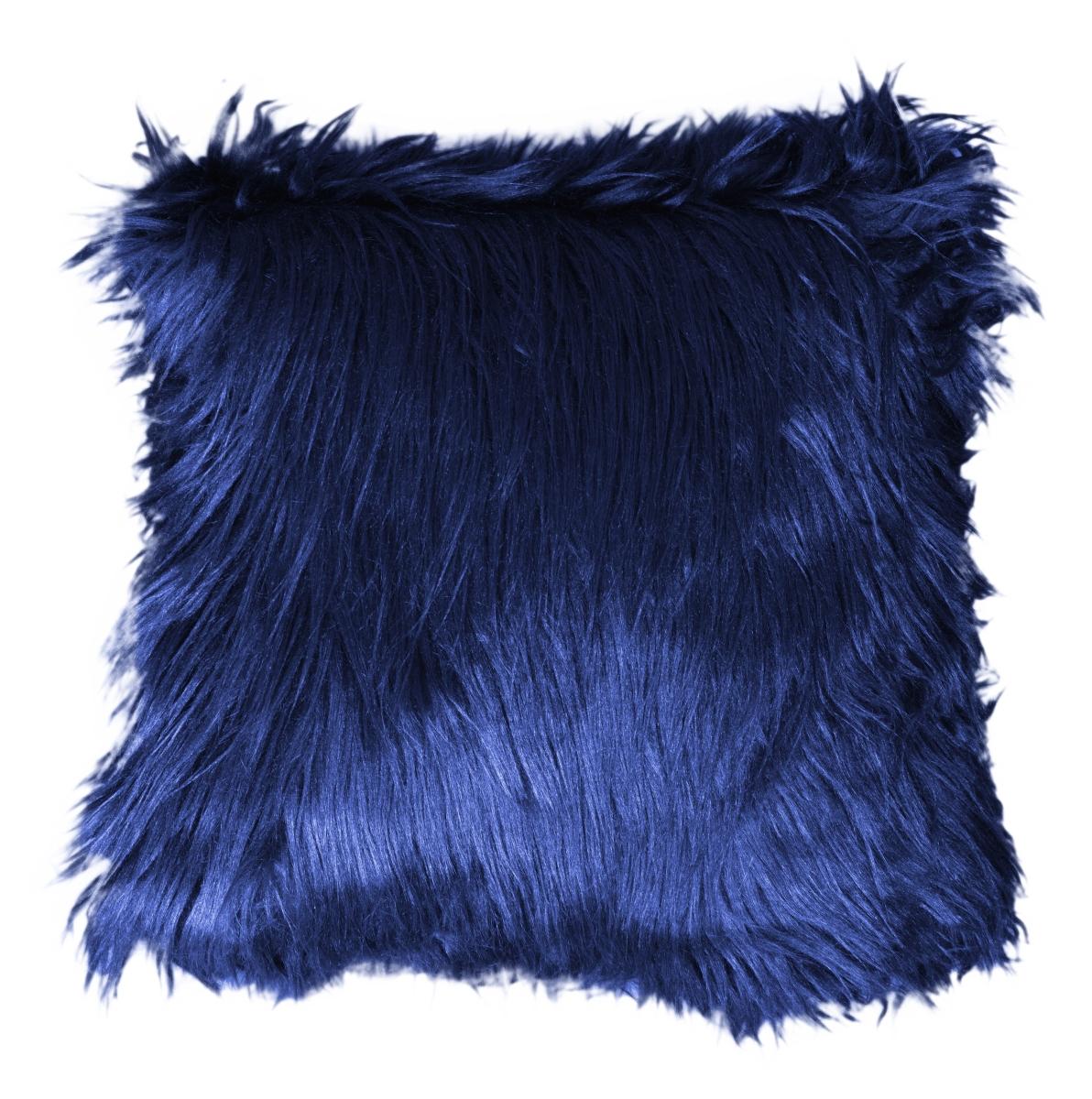 Dekorační potah  na polštář,půlnoční modrý z česané umělé kožešiny