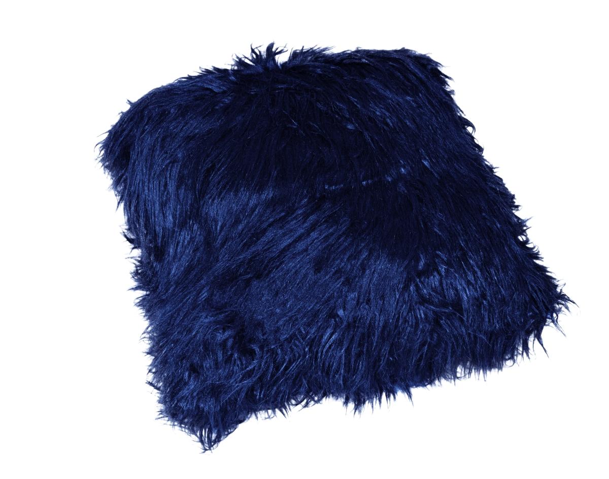 FC12132-Dekoračné poťah na vankúš, polnočné modrý z česanej umelej kožušiny