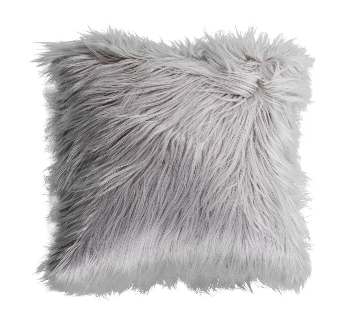 Dekorační potah  na polštář, šedý z česané umělé kožešiny