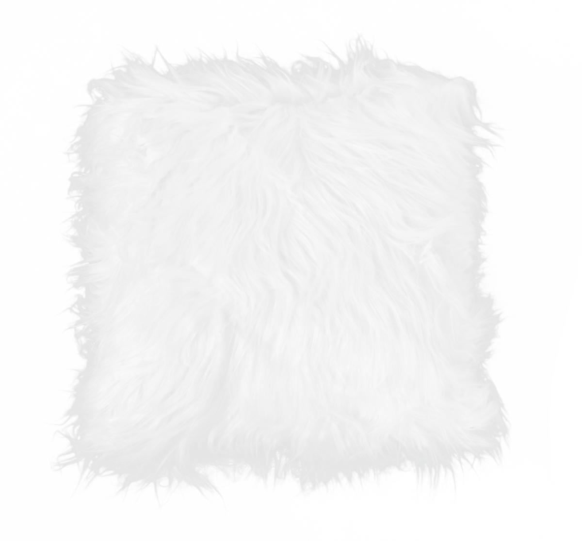 Dekorační potah  na polštář, bílý z česané umělé kožešiny