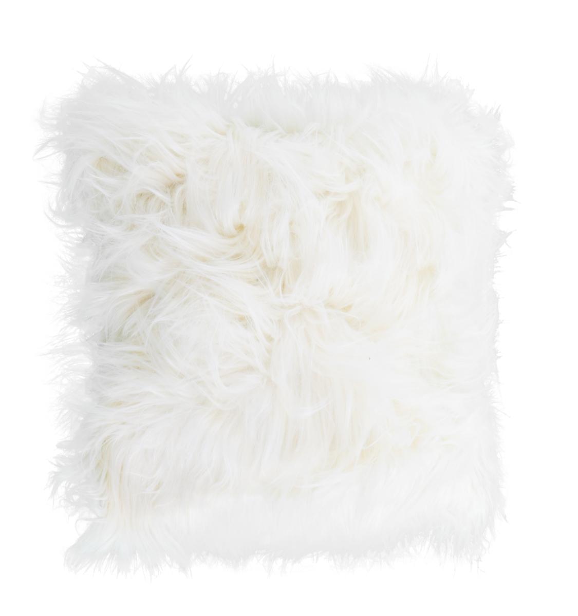Dekorační potah  na polštář, smetanový z česané umělé kožešiny