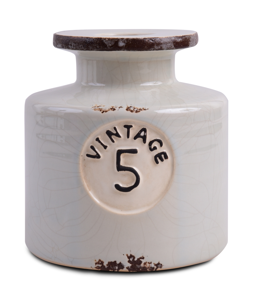 VINTAGE dóza/váza dekorativní, keramická  mintově šedá